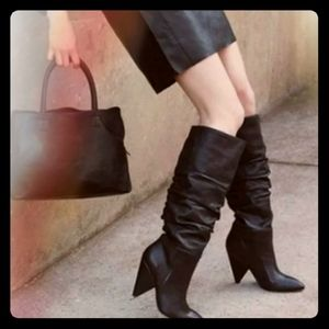 Leather Slouch Boots